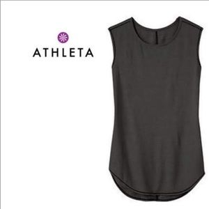 Athleta Shanti Micro Striped Black White Tank Top